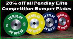 All Pendlay Elite Bumper Plates 20% off this week 9/15/14