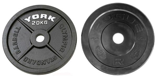 Steel Olympic plates versus basic black bumper plates