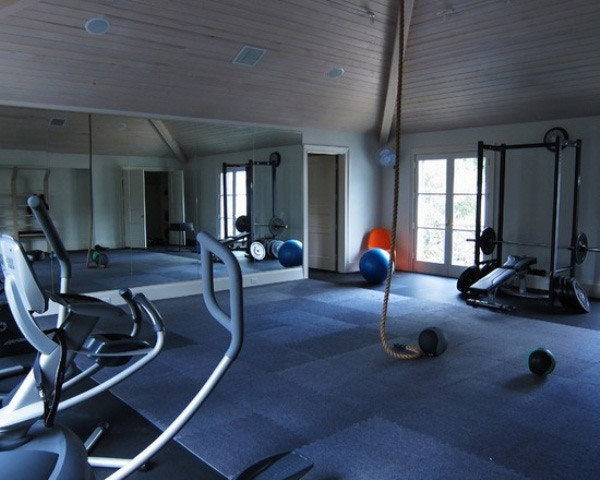 Nice home gym design, and nice flooring