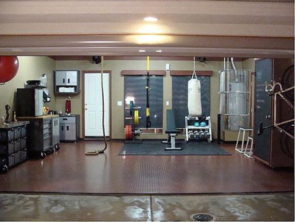 on converted single car garage home gym small design