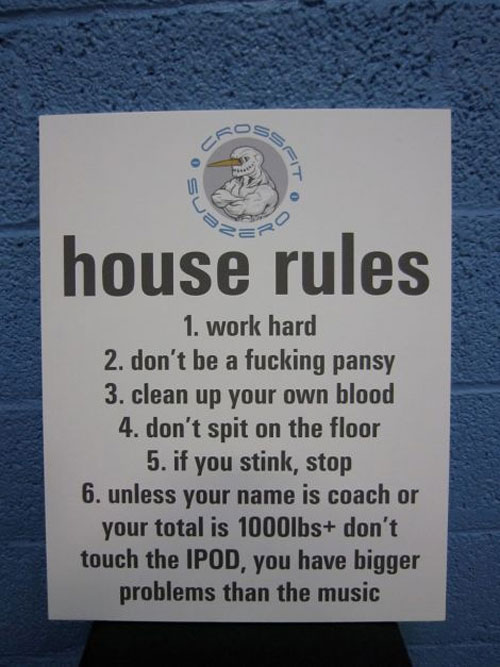 House Rules for CrossFit box - seems pretty well thought out #CrossFit #hardcore