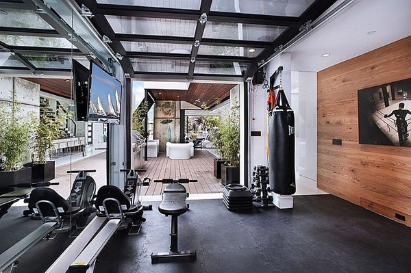 Great luxury garage gym - great use of a single car garage