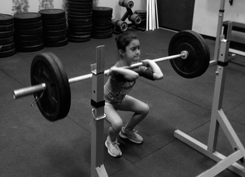 Strong little one hitting those front squats