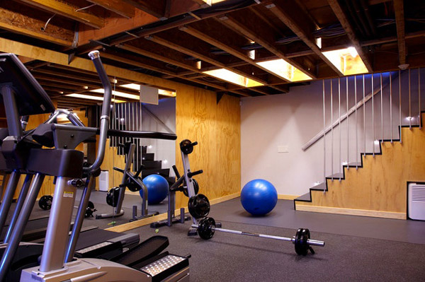 I'm assuming this is a basement gym, not a garage gym. Either way, very modern