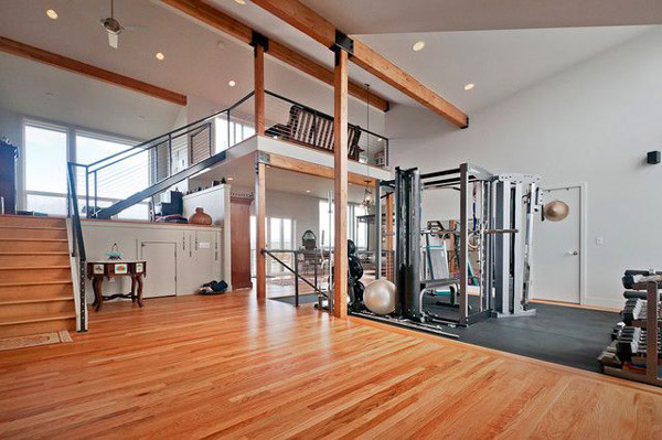 Maybe not a garage gym, but it looks close to the garage door maybe