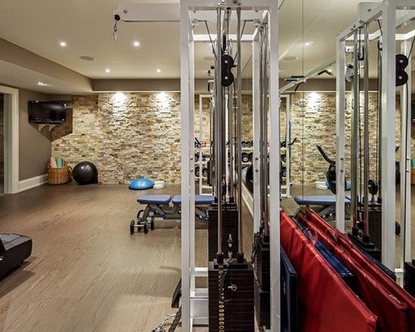 Killer accent wall in this home gym
