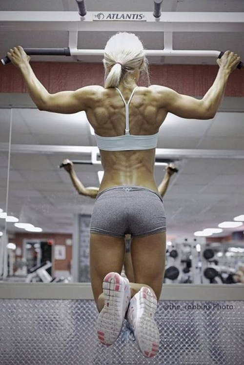 Great back development. Do those chin-ups and pull-ups, get ripped lats #lady #lats