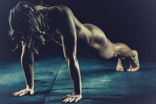 Motivational Image; nude push-ups. Gravity doesn't have shit on her #tight bod