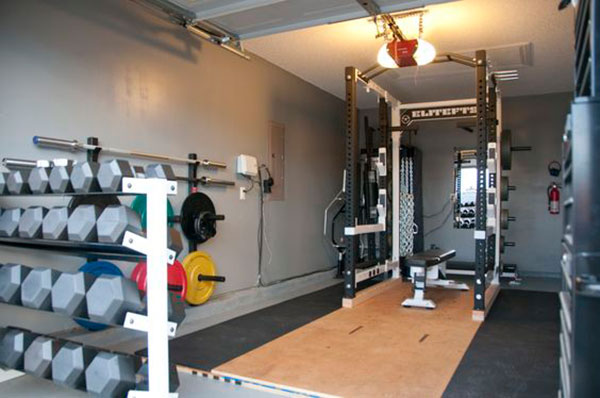 Solid, space-saving 1-car garage gym. Fully loaded
