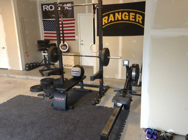 Doesn't this garage gym look kind of staged? Rogue banner in the back, all Rogue gear... hrm