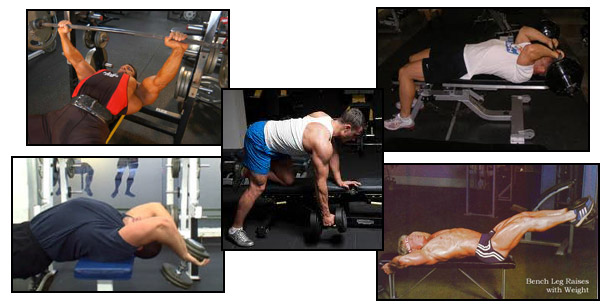 Various bench press exercises
