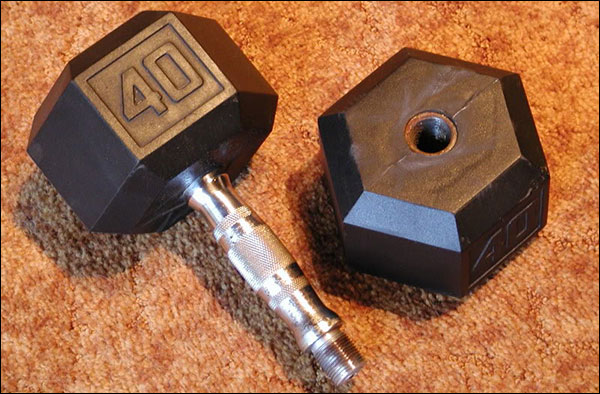Cheaper hex dumbbells are just screwed together, and you can't tell by looking at them in a picture or on the shelf at Wal-Mart.