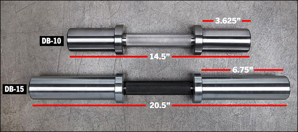 Rogue DB-10 and DB-15 Loadable Dumbbell Handles