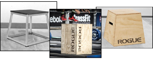 Various types of plyo boxes. wood, metal, and flippable