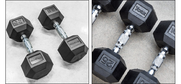 Rogue and York rubber hex dumbbells for sale