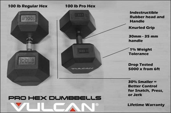 Vulcan Pro Hex Rubber Dumbbells