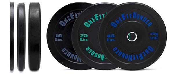 The standard 160-pound set of bumper plates - a pair of 10's, 25's, and 45's