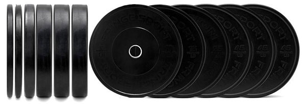 Typical 370-lb set of bumper plates - a pair of 10's, 15's, 25's, and (3) pairs of 45's