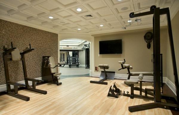 Great home fitness center - look at the ceiling