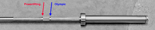 Example of a dual-marked weightlifting barbell