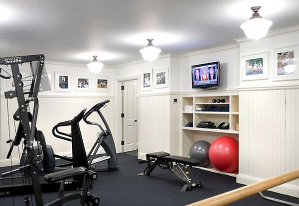 clean and bright home gym and fitness studio