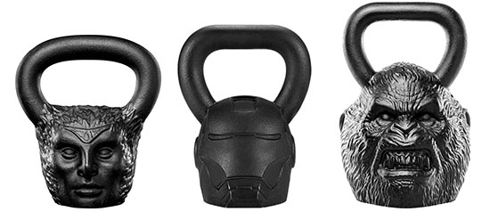 Onnit Kettlebells - fun shapes in various weights and sizes including Ironman, harpies, and primates