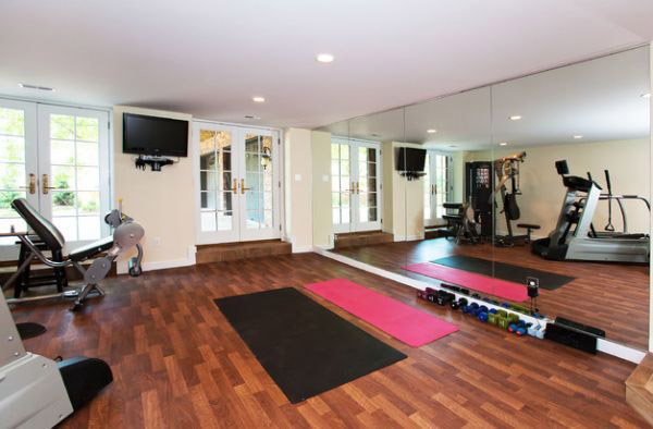 Nice flooring in this Yoga studio / home gym
