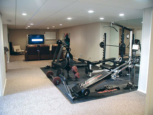 killer basement gym - even has a total gym