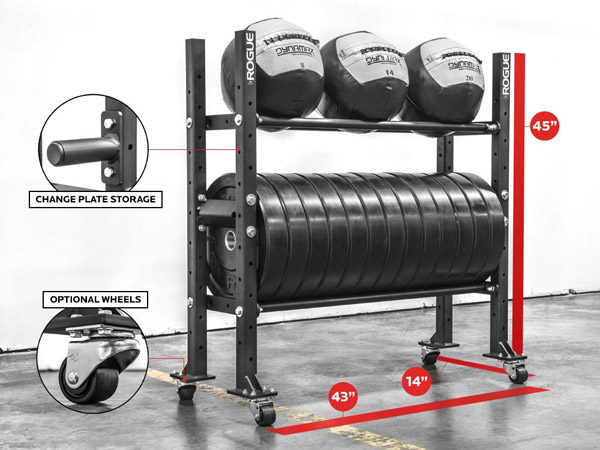 Rogue 2-tier bumper plate storage shelf  sc 1 st  Garage Gyms : weight plates rack - pezcame.com