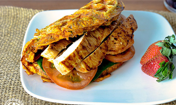 High Protein Breakfast - the Chicken and Waffle Sandwich