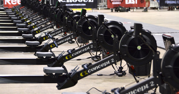 A whole line of Concept 2 rowers at the Crossfit Games
