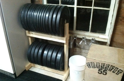 DIY Shelf for Bumper Plate Storage