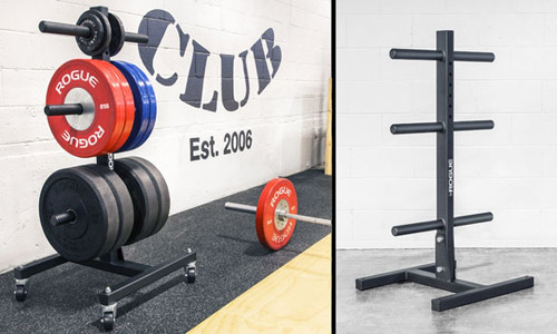 Rogue vertical weight tree for bumper plate storage & DIY Plate Storage Projects - Garage Gym Organization