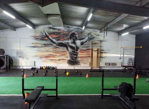 Not a garage gym, but the Arnold wall art was worth sharing #gymlife #Arnold