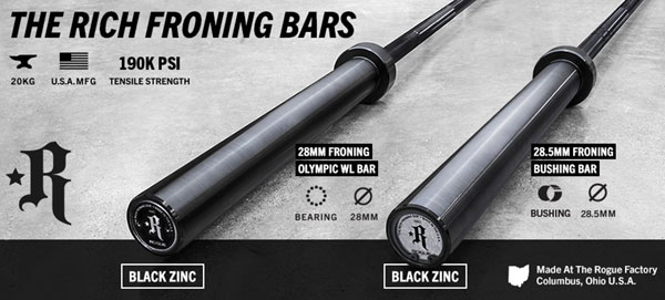 New Rogue Rich Froning Barbells