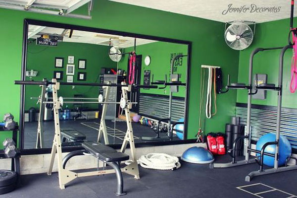 This is what I call an Upper Body Garage Gym. Abs, chins, bench... squats?