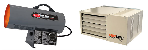 Heating your garage - Examples of Forced Air Heaters for your garage gym