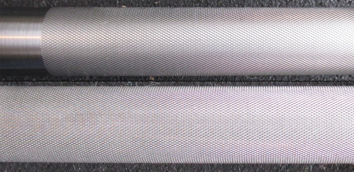 Knurling of the American Barbell SS Olympic Bearing Bar
