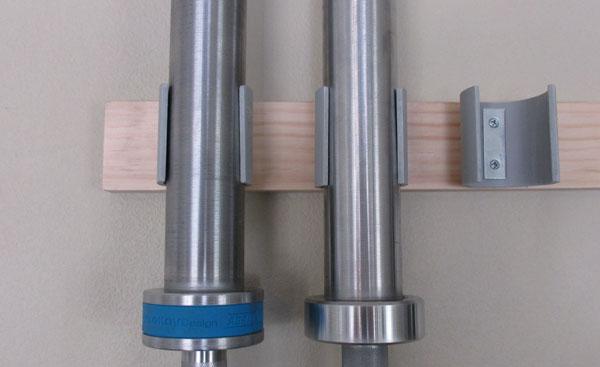 Close up of my DIY barbell rack