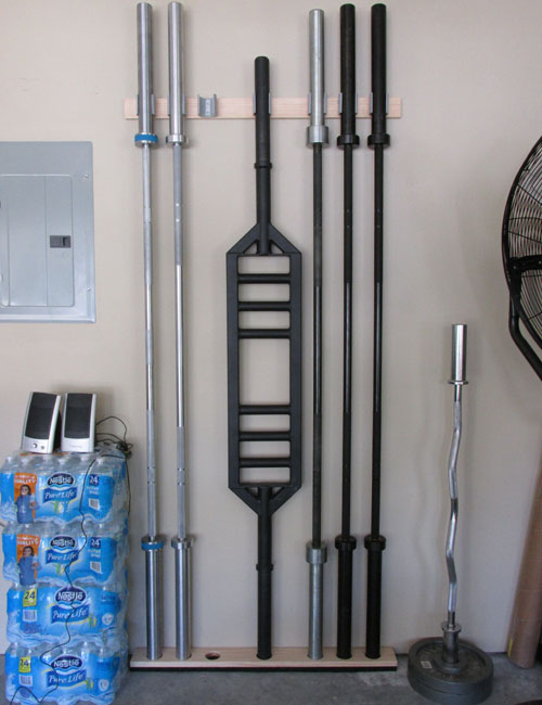 Space Saving Diy Barbell Rack / Bar Storage