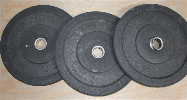 10-pound bumper plate abuse! Warped and falling apart