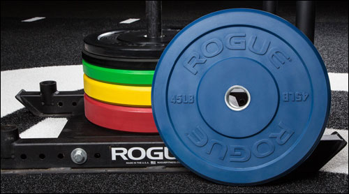 Rogue Echo Bumper Plates in IWF Colors