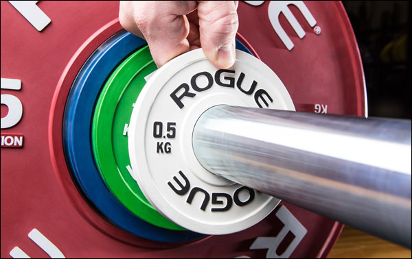 Rogue adds kg change plates to olympic training line up