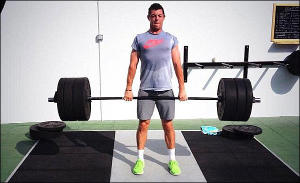 Rory McIlroy weight training with Eleiko XFs