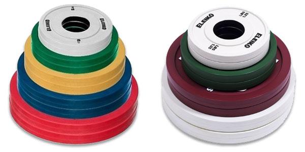 Eleiko rubber change plates in kilograms or pounds