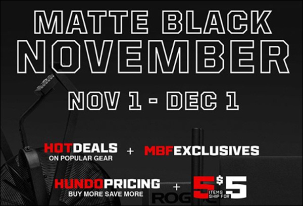 Rogue Fitness Black Friday / Matte Black November Deals