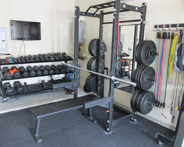 This is a dated photo of one corner of the Garage-Gyms' official garage gym.