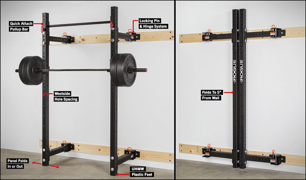 Rogue RML-3W Folding Wall Rack