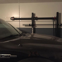 Rogue Foldable RML-3W stowed away, truck easily fits into garage
