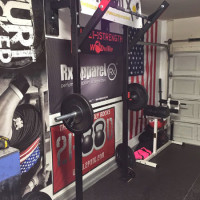 Garage Gym with the Slim Gym Wall Rack